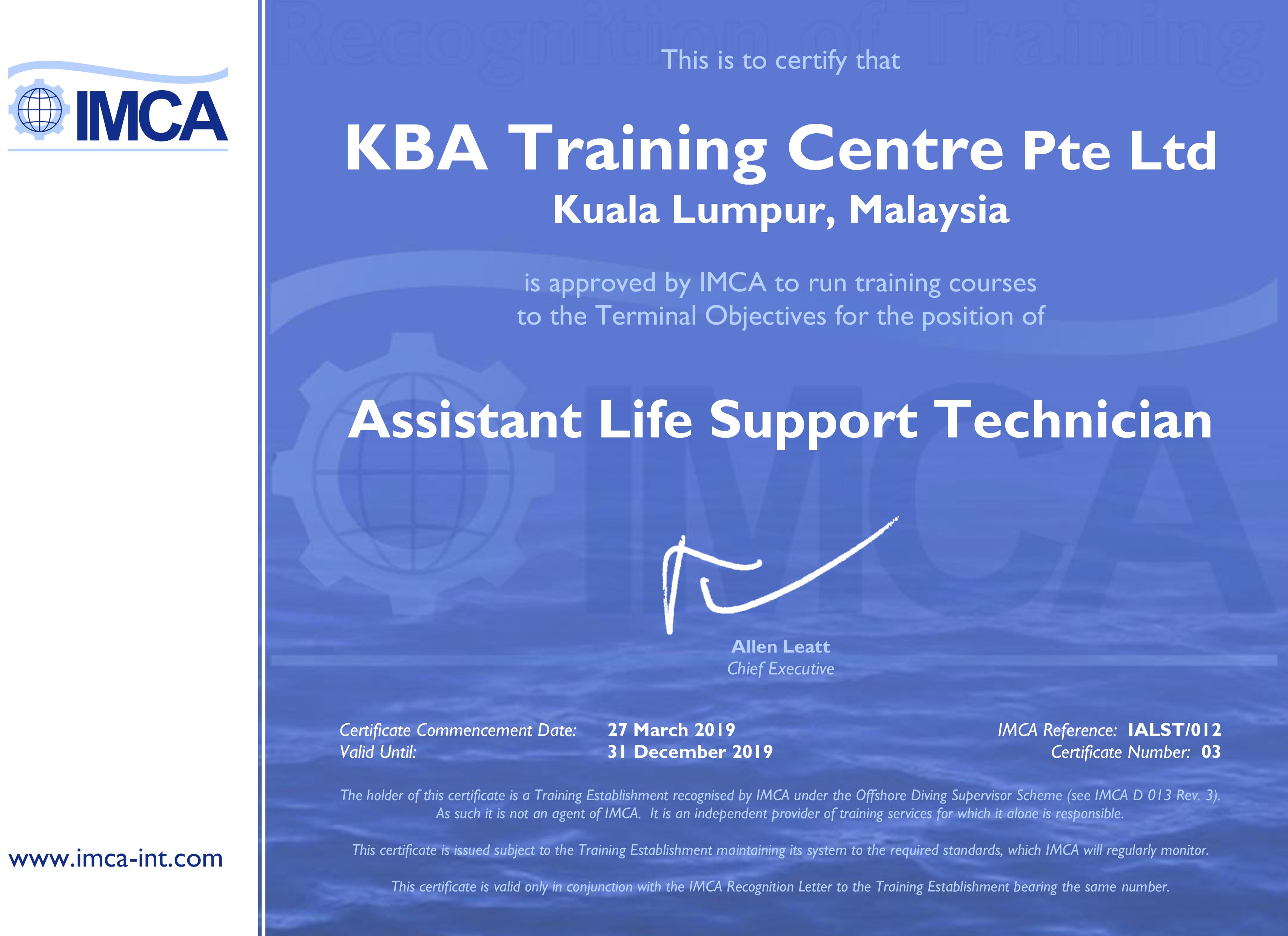 IMCA Assistant Life Support Technician - Kuala Lumpur Certification