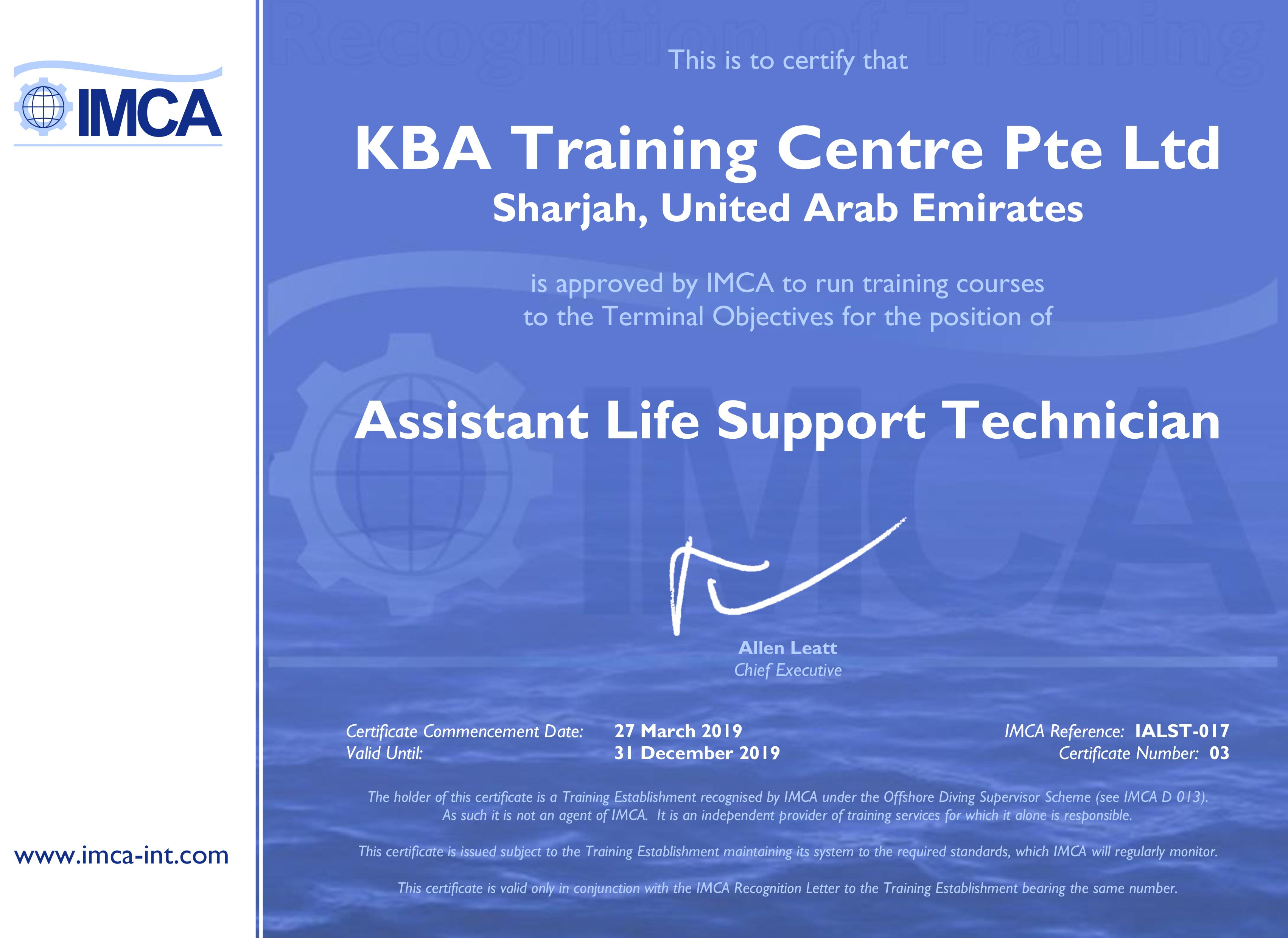 IMCA Assistant Life Support Technician - UAE Certification