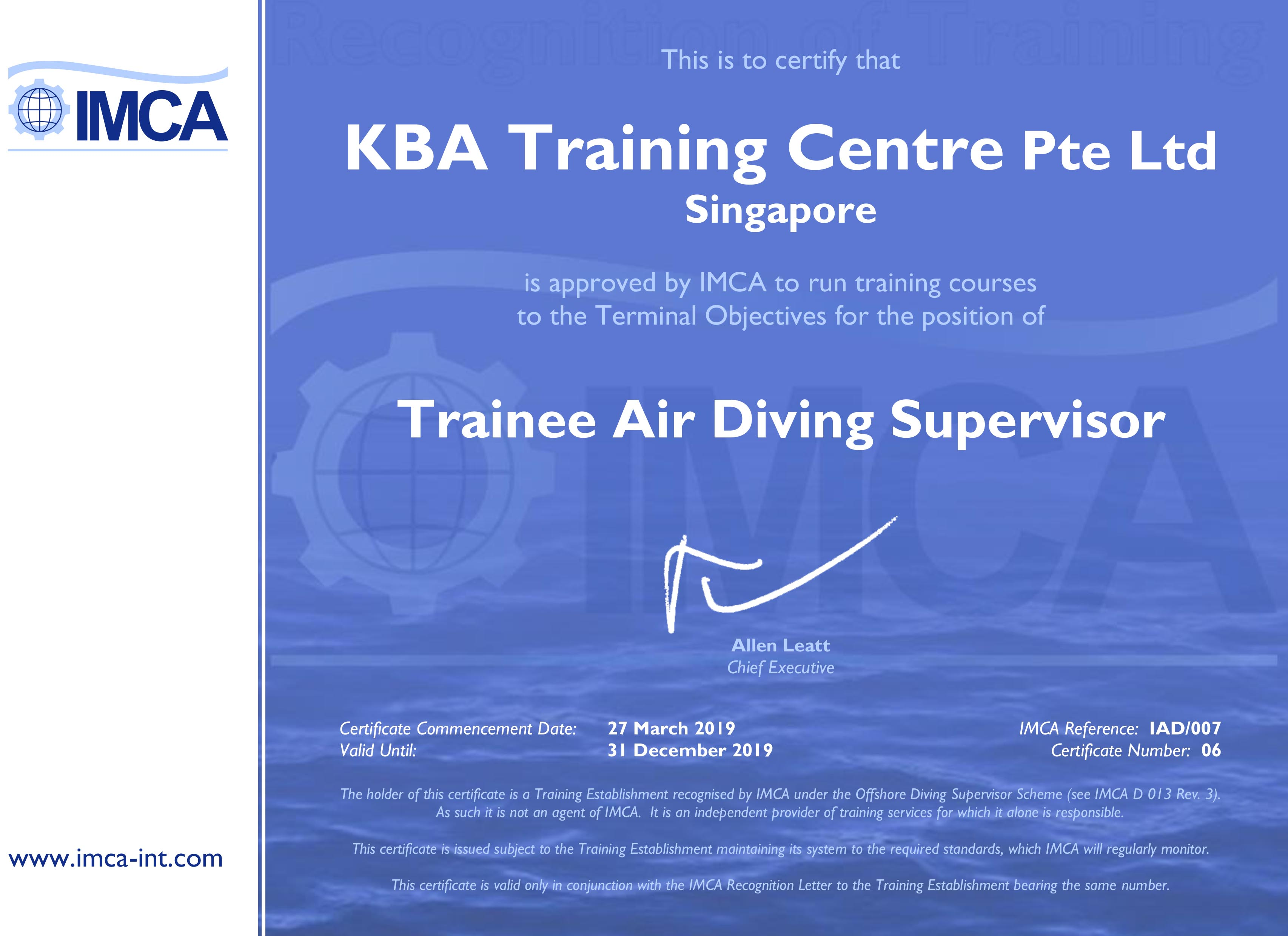 IMCA Trainee Air Diving Supervisor Certification