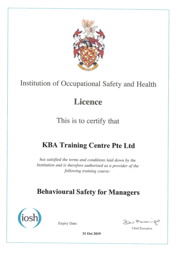 IOSH Behavioural Safety for Managers