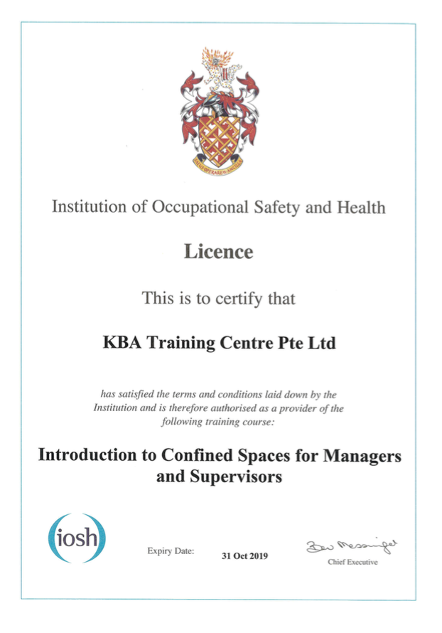 IOSH Intro to Confined Spaces for Managers and Supervisors