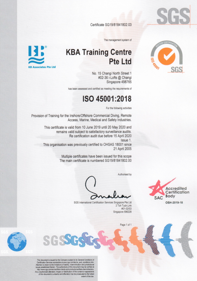 KBA management system has full accreditation by ISO 45001:2018