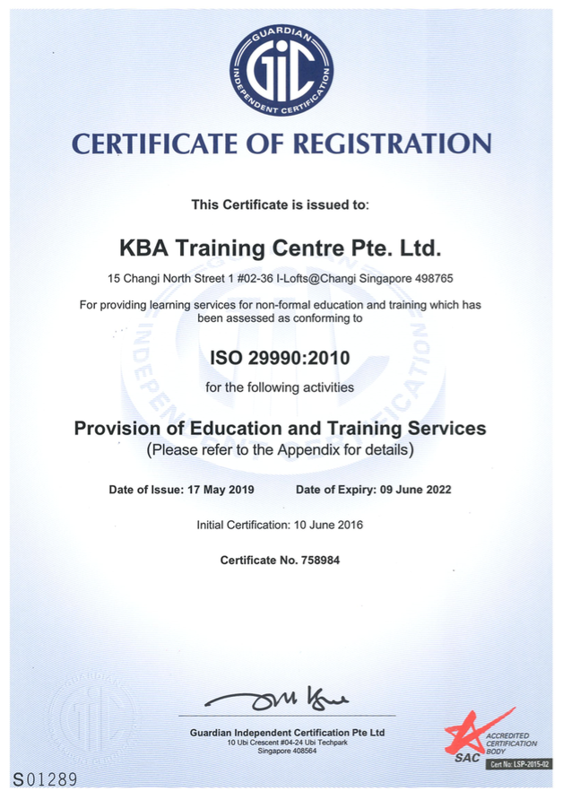 ISO 29990 Standard Accredited Training Provider