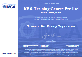 IMCA Trainee Air Diving Supervisor - New Delhi Certification