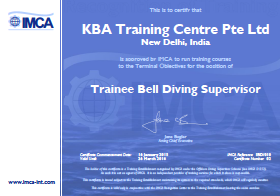 IMCA Trainee Bell Diving Supervisor - New Delhi Certification