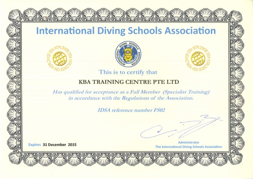 International Diving Schools Association (IDSA) Specialist Certification