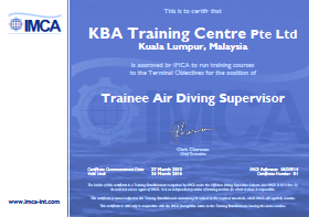 IMCA Trainee Air Diving Supervisor - Kuala Lumpur Certification