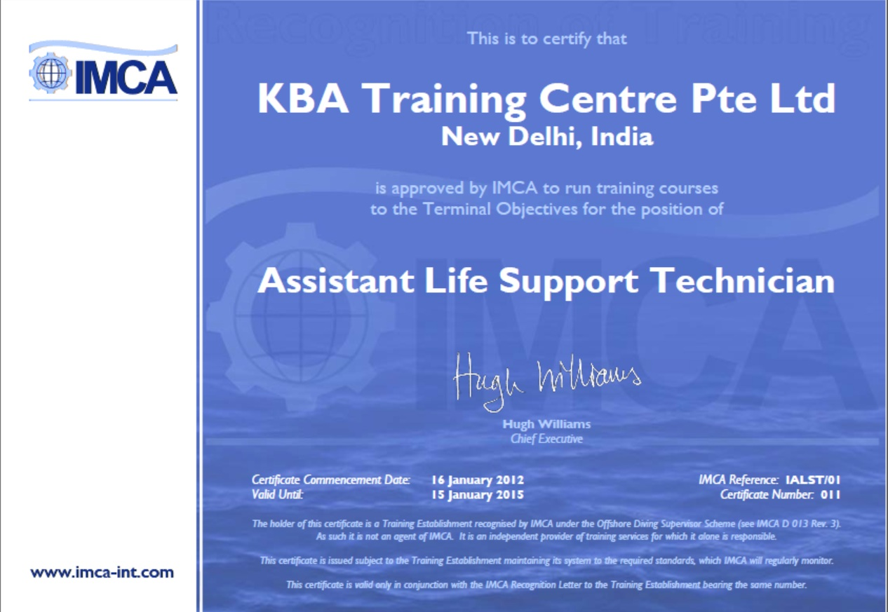 IMCA Assistant Life Support Technician - New Delhi Certification