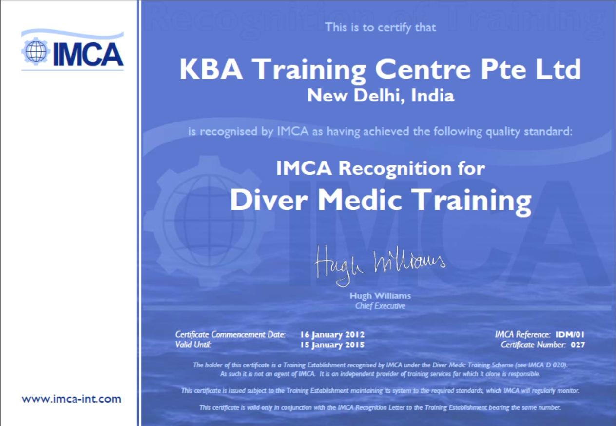 IMCA Diver Medic Technician - New Delhi Certification