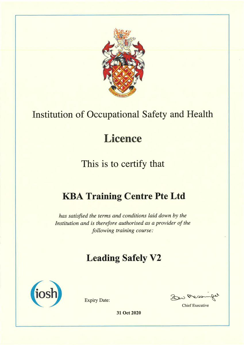 Certification - IOSH Leading Safely