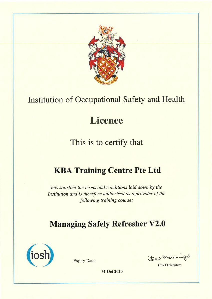 IOSH MS Refresher Licence Cert