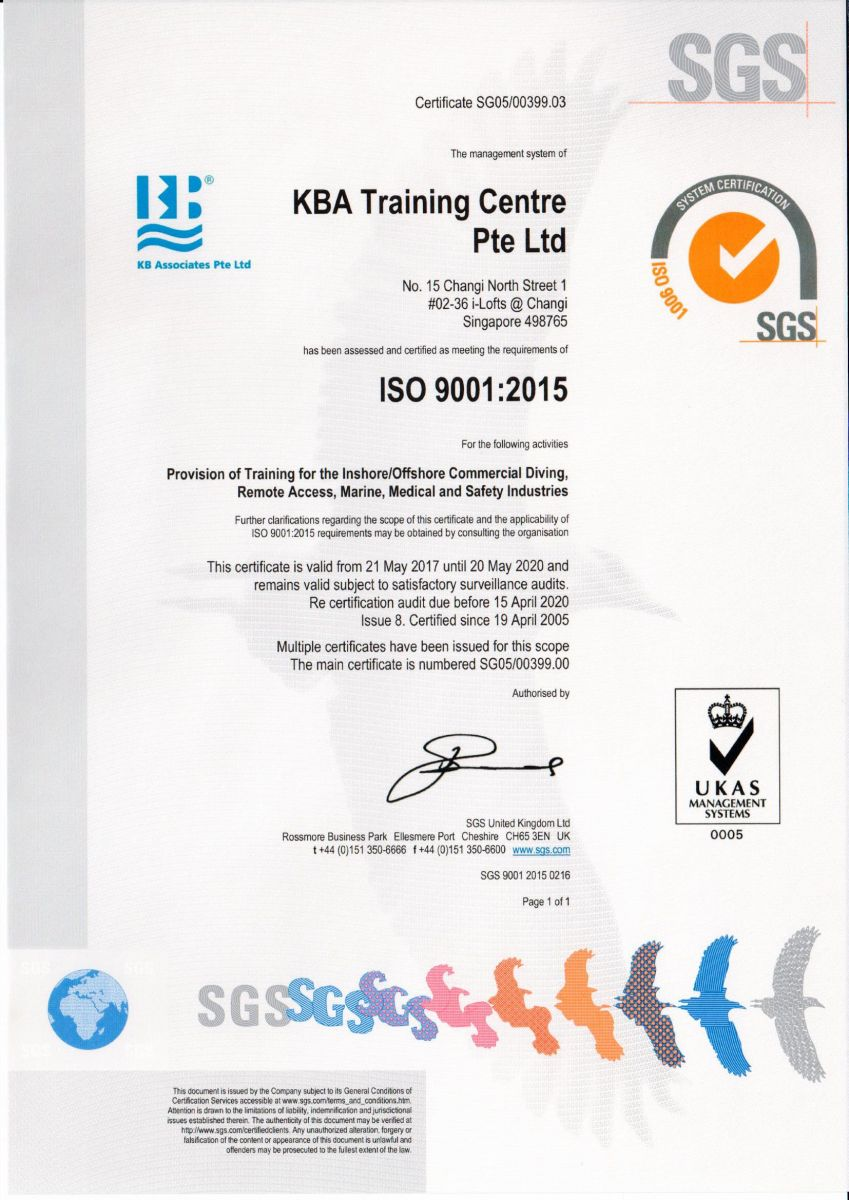 KB Associates, KBA Training, KBA Marine certified under SGS - ISO 9001-2015