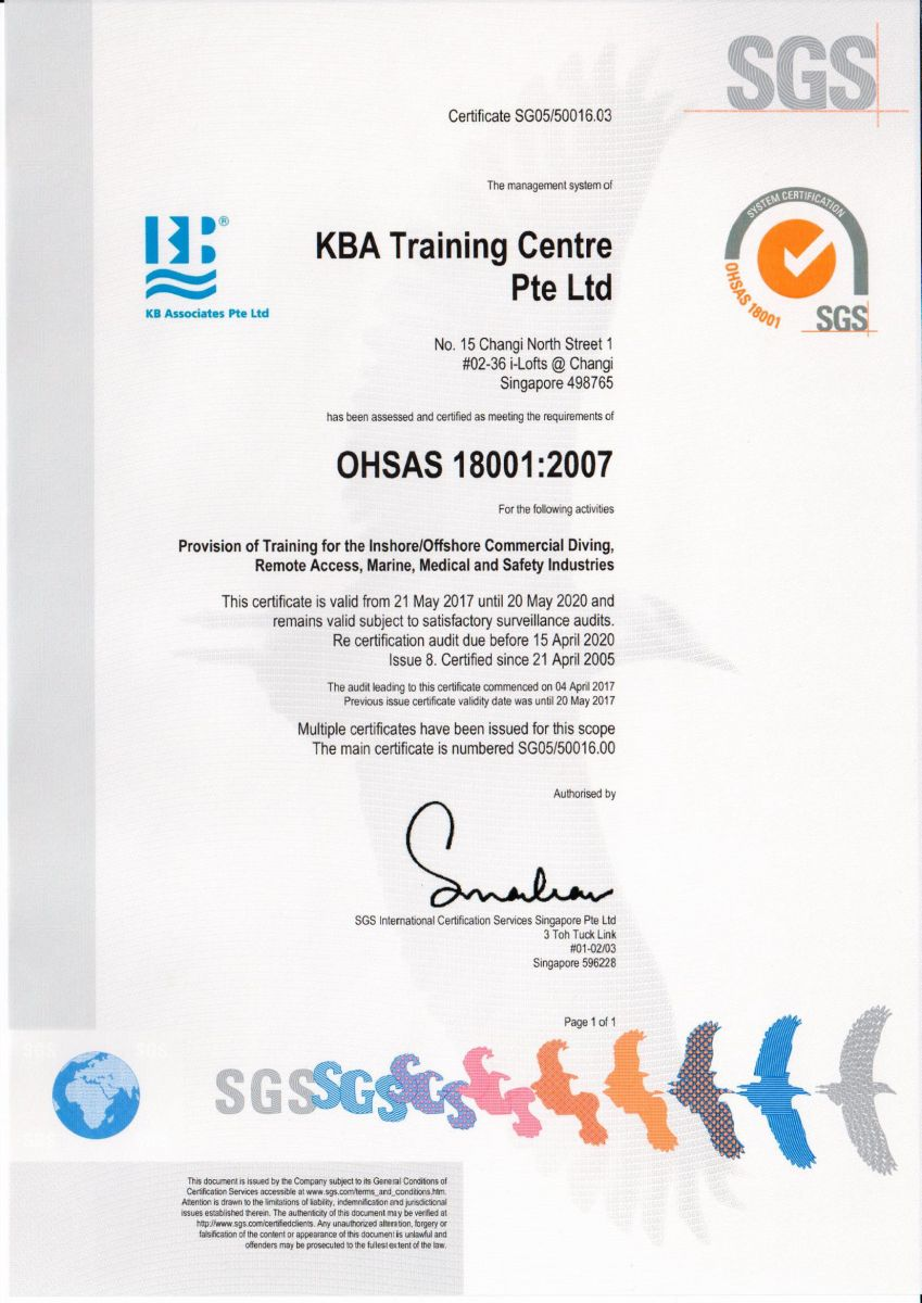 KB Associates, KBA Training, KBA Marine certified under SGS - OHSAS 18001-2007