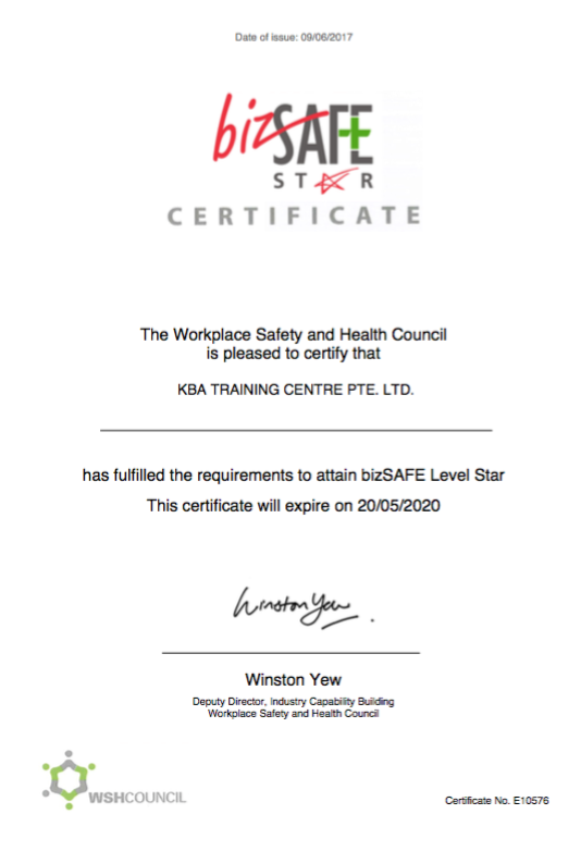 bizSAFE Certificates for KBA Training Centre Pte Ltd