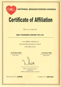 National Resuscitation Council - Certificate of Affiliation