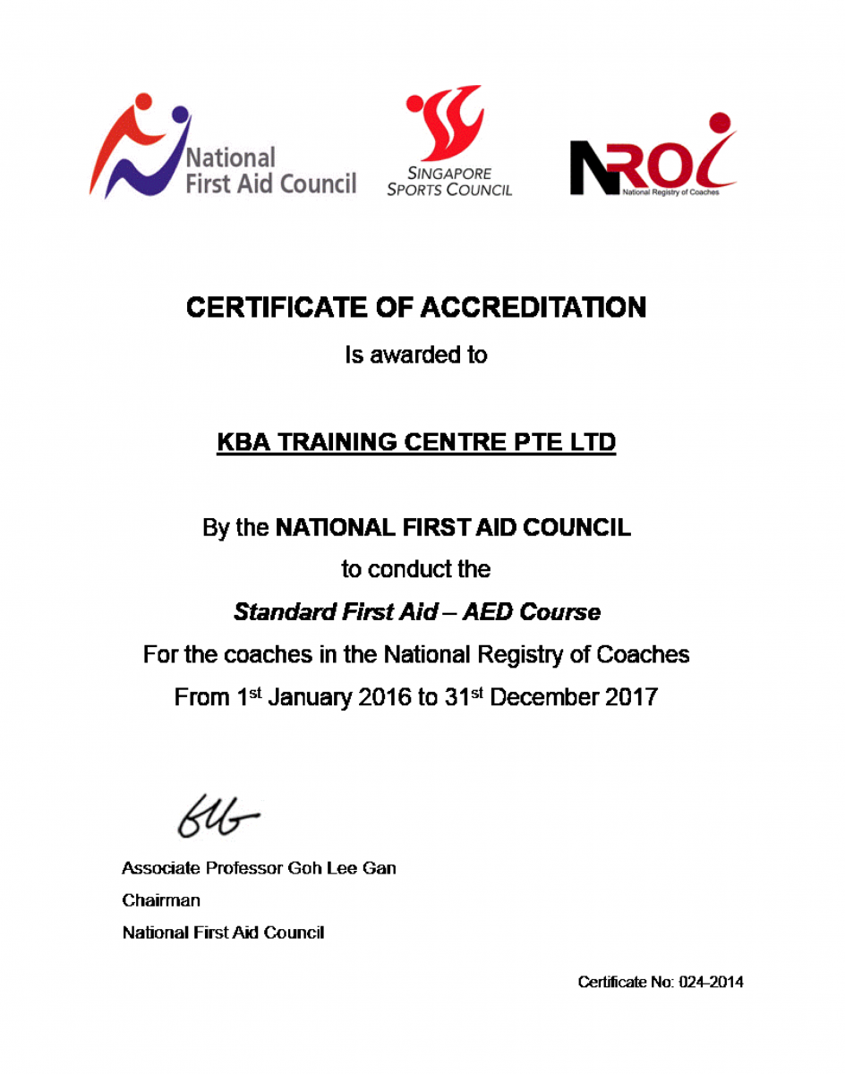 National First Aid Council - Certificate of Accreditation for Standard First Aid and AED Course