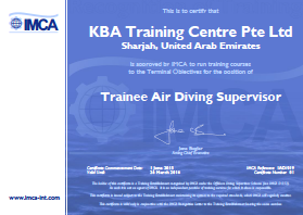 IMCA Trainee Air Diving Supervisor - UAE Certification