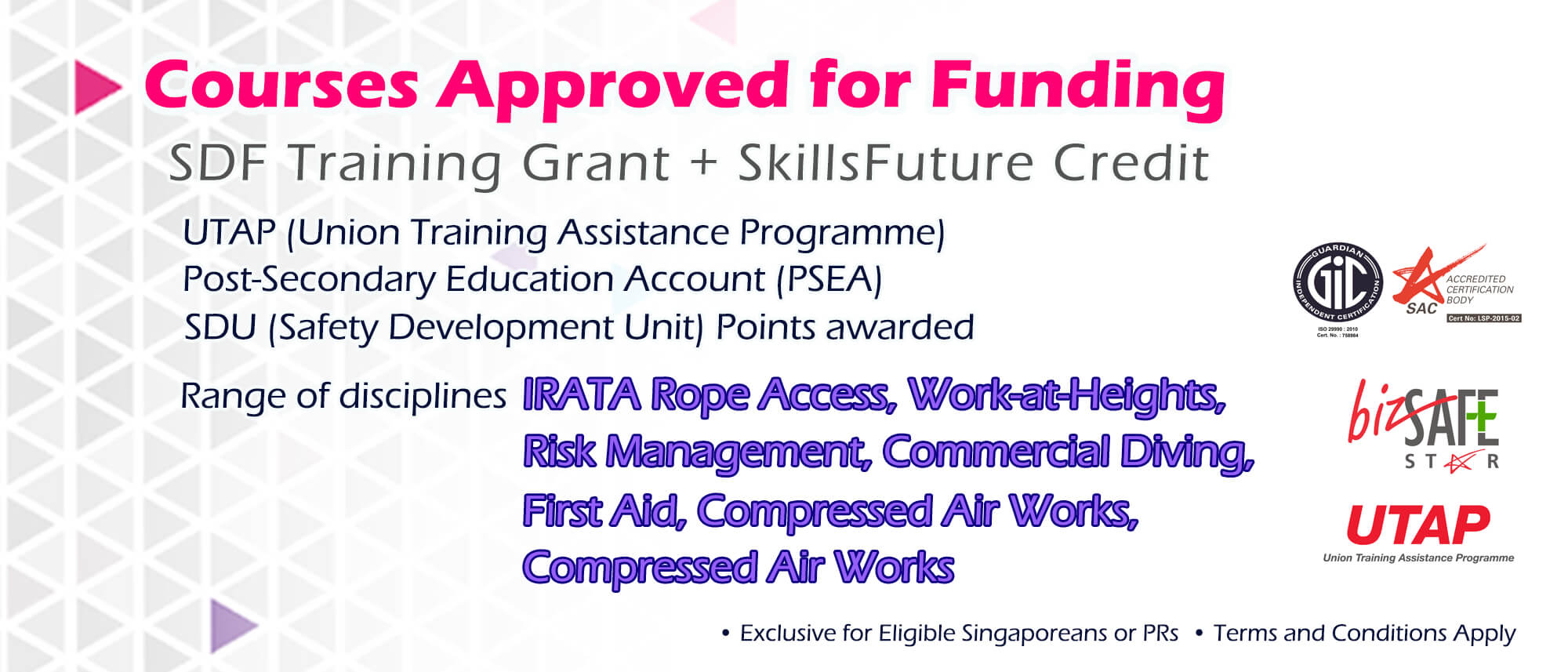 Lists of courses that are approved for Funding